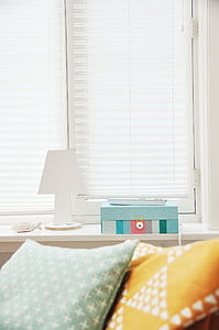 pillows, bedroom, window blinds, lamp, room, home, house