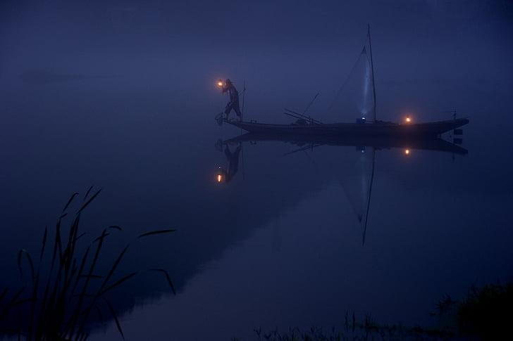 sám, loďou, rybár, Rybolov, jazero, muž, noc