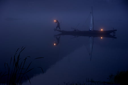 alone, boat, fisherman, fishing, lake, man, night