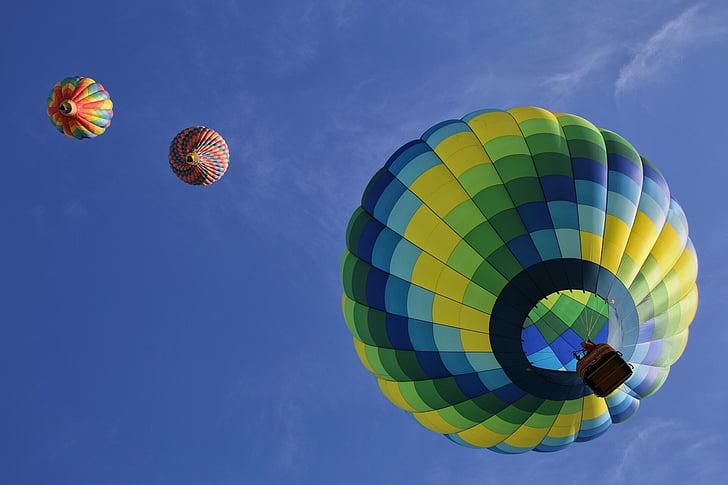 vrući zrak balona, Plutajući, zabava, šarene, klima, vozila, putovanja