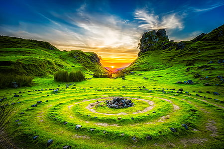isle of skye, scotland, sunset, dusk, beautiful, formations, hills