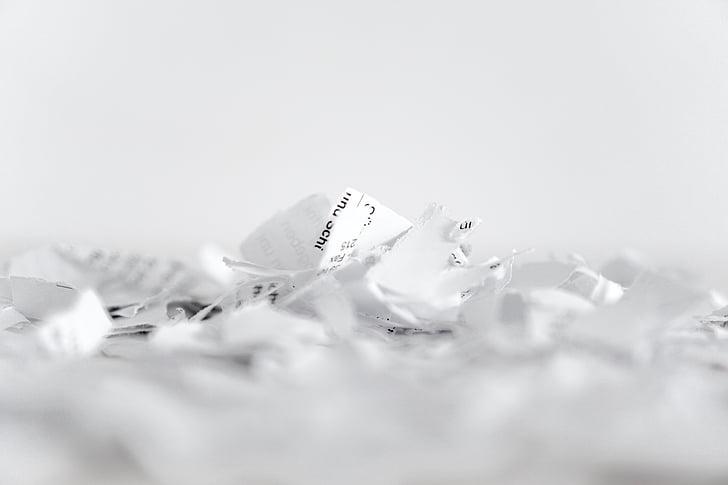 paber, purustaja, helbed, ringlussevõtu, lõigatud, hakitud paber, purustamise