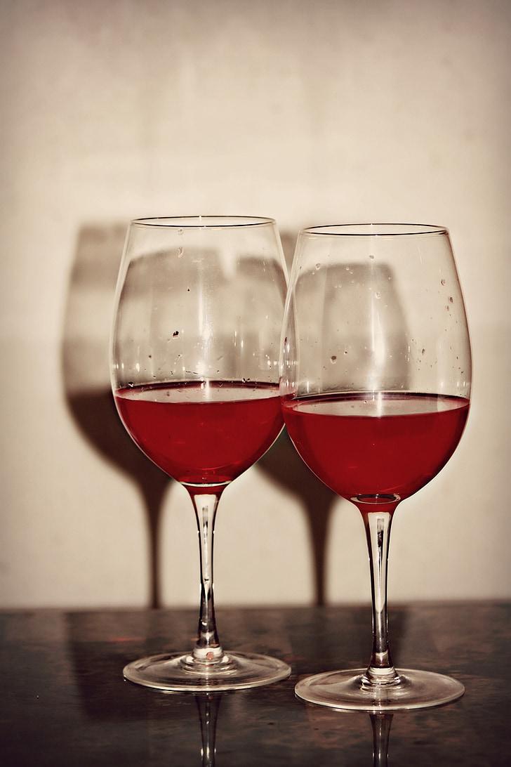 สอง, สีแดง, ไวน์, แก้วไวน์, แก้ว