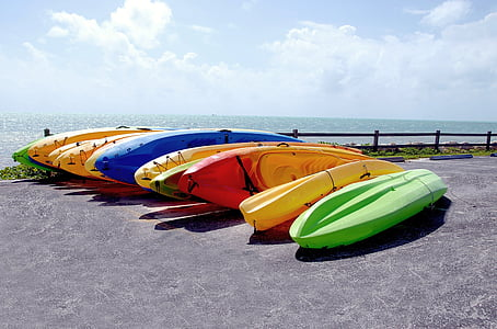 kayaks, for rent, colorful, recreation, summer, vacation, travel
