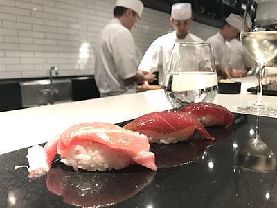 omikase, sushi, nakasawa, japonès, salmó, Sashimi de, aliments