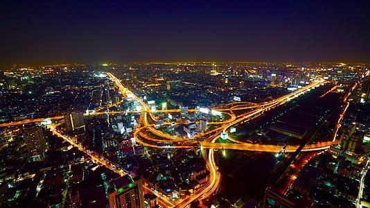 aèria, Bangkok, ciutat, nit, trànsit, il·luminat, paisatge urbà