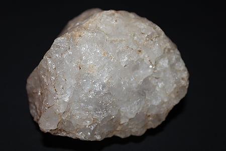 Crystal, mineraal, kvarts, Rock crystal, kivi, valge, must ja valge