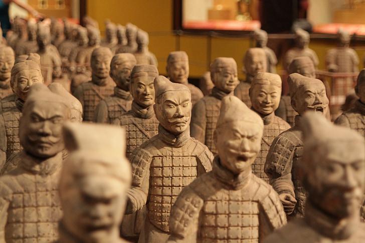 Chiny, żołnierzy, terakota, Rzeźba, Azja, Wojownik, posąg