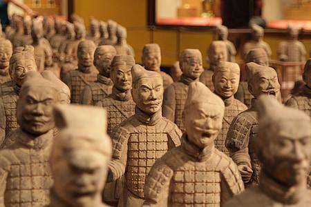 Xina, soldats, terracota, escultura, Àsia, guerrer, estàtua