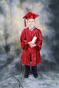 Момче, дипломирането, Детска градина, образование, завършил, Щастлив, диплома