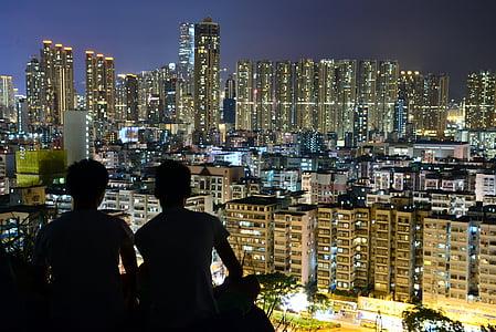 urban, moon, city, skyline, landscape, cityscape, moonlight