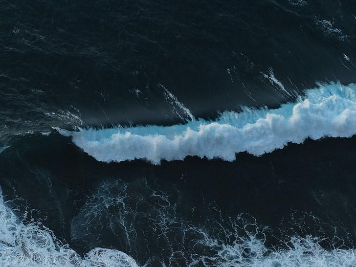 Mar, ona, navegar per, Onatge, escuma, esprai, natura