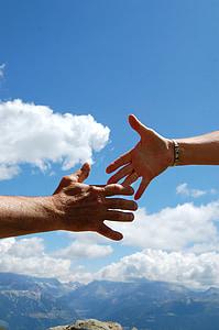 solidarity, sky, handshake, man woman, clouds, blue, optimism