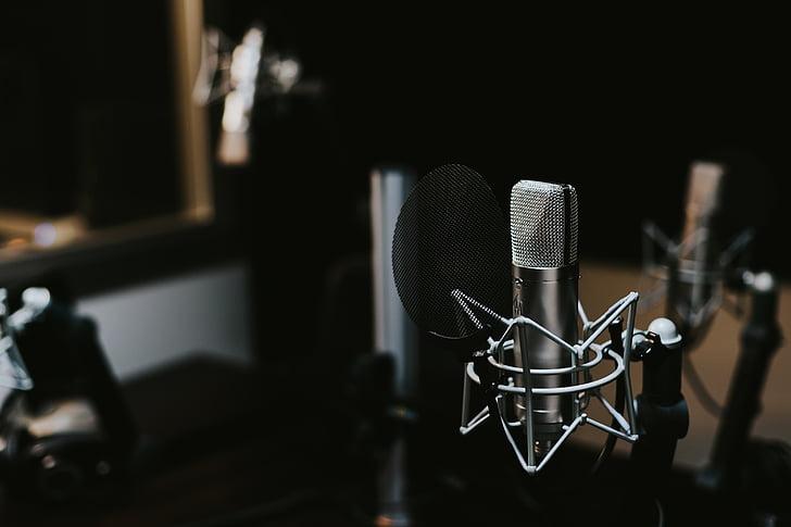 indoors, macro, mic, microphone, sound, sound recording, studio