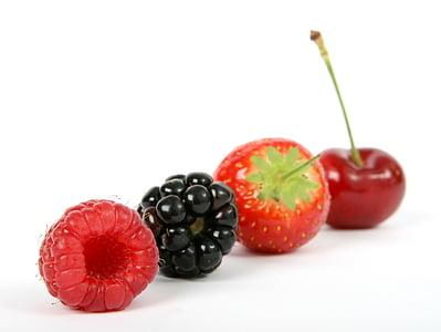 jagoda, czarny, BlackBerry, Blueberry, śniadanie, wiśnia, zbliżenie