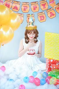 aniversari, noia, pastís, globus, feliç, dia, femella
