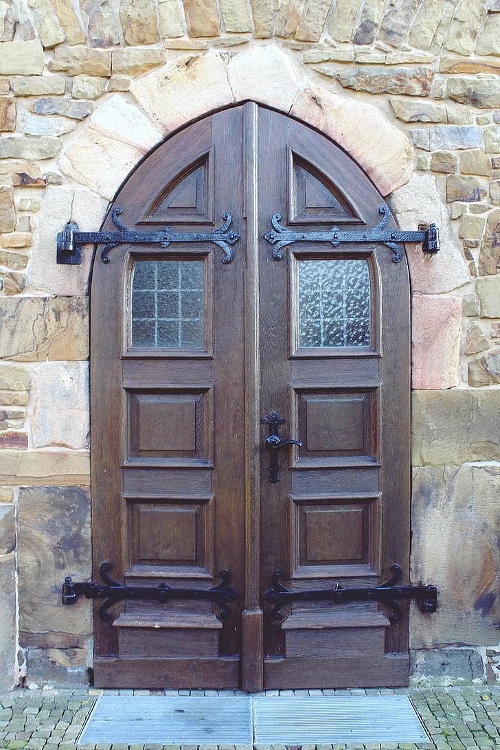 deur, voordeur, input, de ingang van het huis, doel, hout, oude