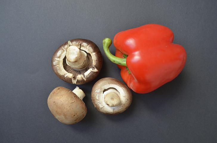 sēnes, paprika, pārtika, dārzeņi, veselīgi, melna fona, dārzenis
