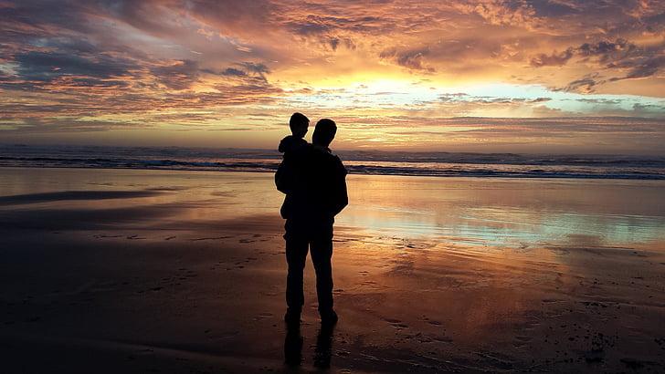 pare, fill, nét, home, nen, posta de sol, platja