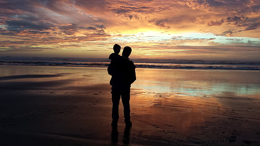 father, son, grandson, man, child, sunset, beach