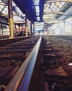 lyse, industri, ledende linjer, perspektiv, jernbanen, jernbane, tog