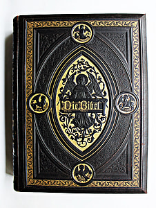 book, bible, leather-bound, the art of book binding, historically, antiquarian, old