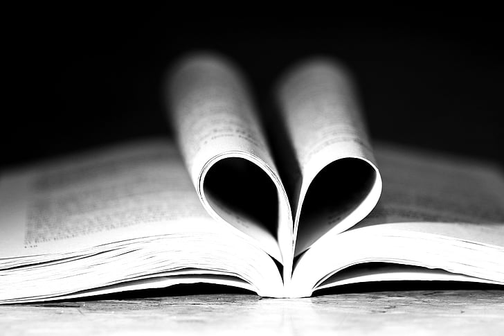 book, reading, heart, love, romantic, page, open