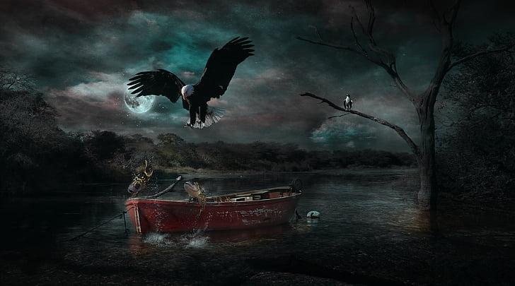 manipulació de Photoshop, fantasia, natura, vaixell, ocell