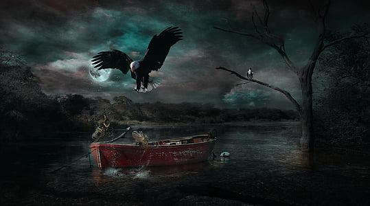 Photoshop манипулация, фентъзи, природата, лодка, птица