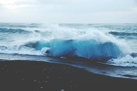 l'aigua, ones, que s'estavella, platja, oceà, Mar, poder