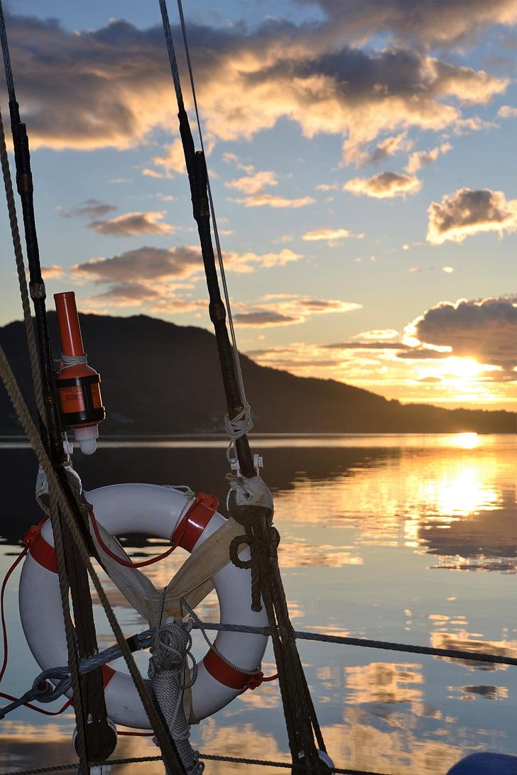 Норвегия, побережье, Парус, Скандинавия, фьорд, abendstimmung, Закат