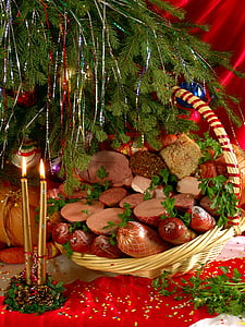 food, christmas, tasty, meat products, christmas tree, new year's eve, candles