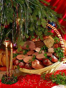 produse alimentare, Crăciun, gustoase, produse din carne, pomul de Crăciun, Ajunul Anului Nou, lumanari