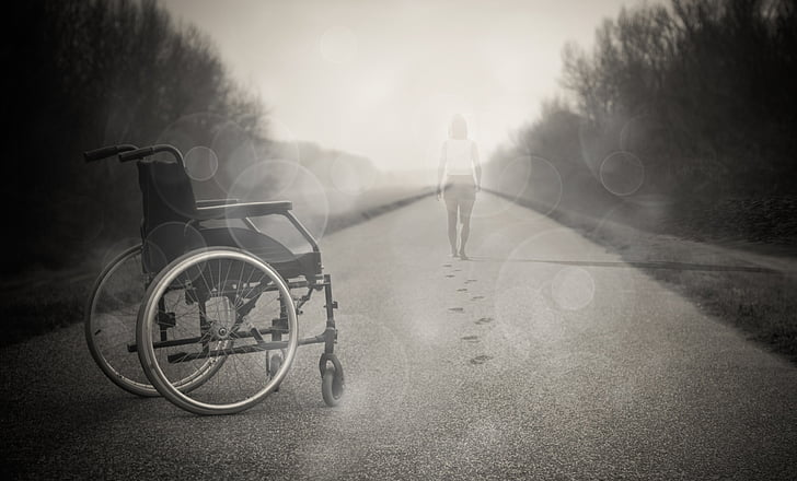 fauteuil roulant, source d'inspiration, amour, ange, Dom, foi