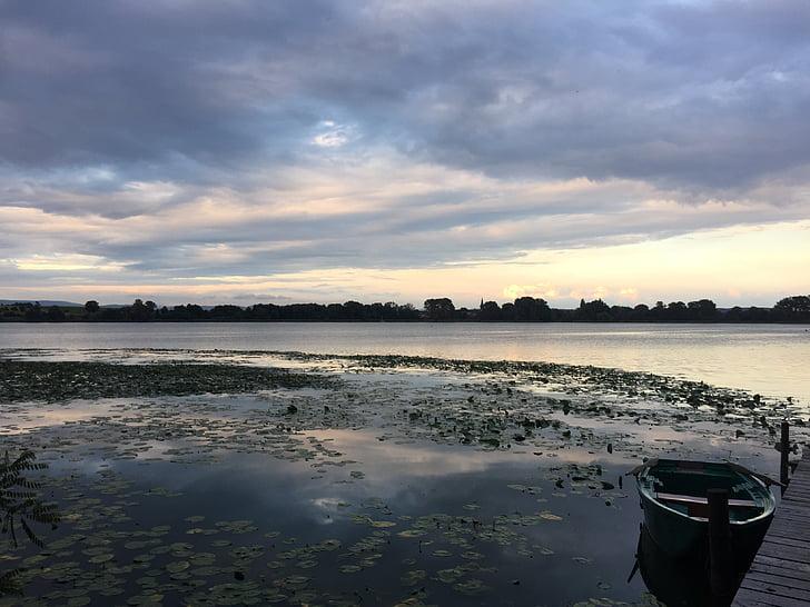 озеро, Закат, abendstimmung, Природа, Романтика, Солнце, рыболов