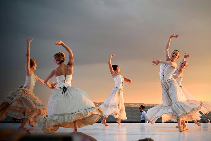 women, s, wearing, white, dress, shirt, dancing