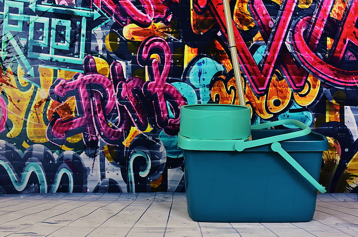 grafiti, putz kausu, noņemt, padarīt tīru, iztīriet, tīrīšana, daudzkombināciju krāsainu