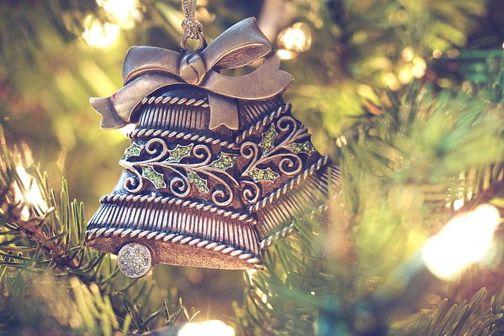 Jõulukaunistused, jõulud kellad, Jõulukaunistused, jõulupuu, Xmas teenetemärgid, Xmas kellad, Xmas kaunistused