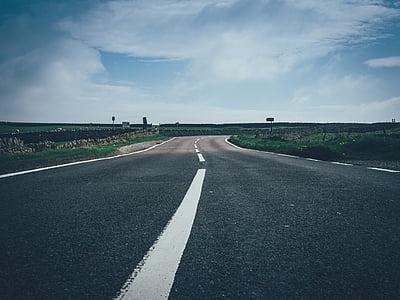 asfalt, Perspectiva, carretera, cel, viatges, el camí a seguir, marcat de la carretera