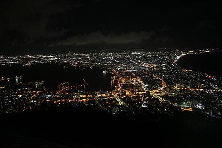 visão noturna, paisagem urbana, Baía, aérea, vista para a cidade
