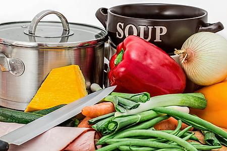 sopa, verdures, olla, cuina, aliments, Sa, pastanaga