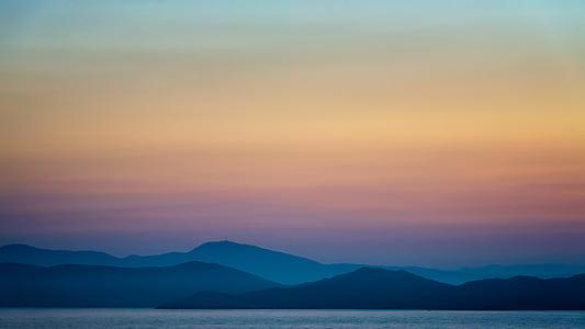 Dawn, skymning, landskap, dimma, bergen, Utomhus, plakat