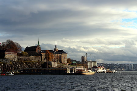 Oslo, Norge, hamn, Oslofjorden, staden, moln, resor