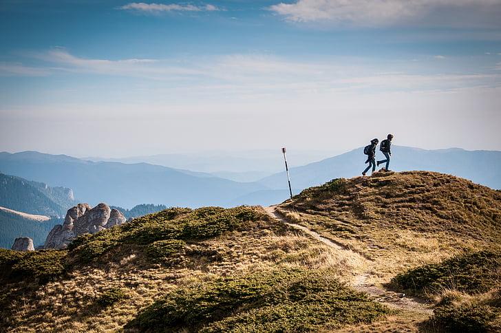 adventure, hikers, hiking, mountain range, mountains, nature, outdoors