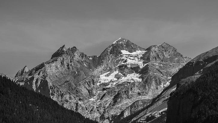 montanhas, preto e branco, picos de montanha, paisagem, neve, Alpina, frio