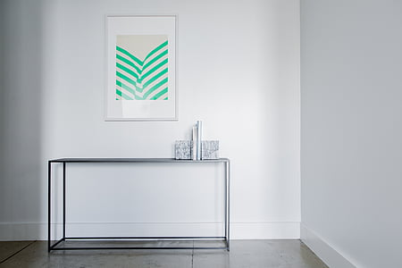 wall, white, frame, table, aesthetic, clean, domestic Room