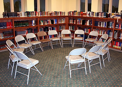 chairs, circle, library, discussion, education, learn, school