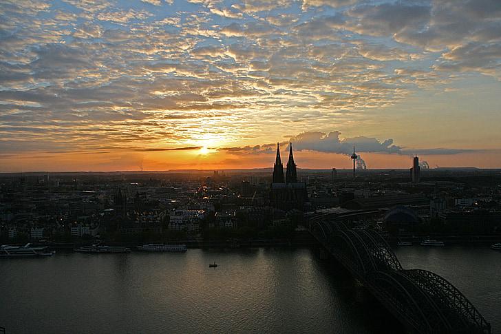 Cologne, Rhine, jembatan Deutzer, Kastil Cologne, matahari terbenam, Rhine kapal, Sungai