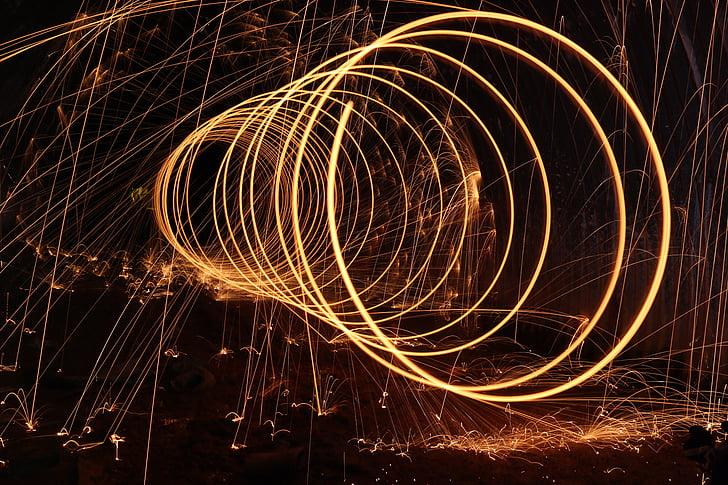 steelwool, mørk, firespin, spiral, kunst, gnister, lys