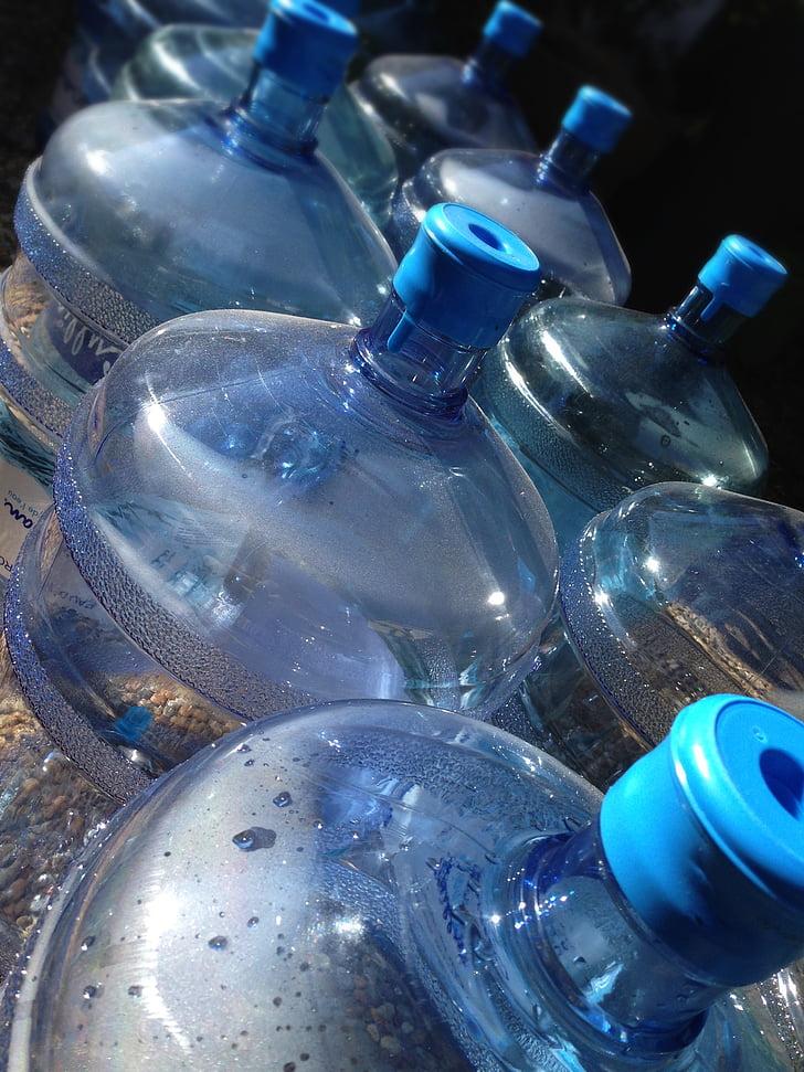 üveg, palackozott víz, üres üveg, kék, műanyag palackok